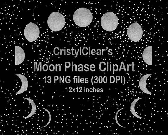 Moon Phase Clipart (Lunar Phase Clip Art) for all your Projects