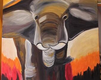 Original Figurative painting - African Elephant-