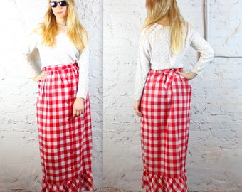 60's Red and White Checkered Maxi Skirt in Women's Large XL Plus Size . Picnic Summer Spring Cotton Breezy 1960s Vintage 1970s 70s Flirty