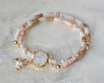 Druzy Choker, Druzy Bracelet, Pink Opal Necklace, Opal Necklace, White Druzy Necklace, Blush Pink Necklace, Gemstone Necklace