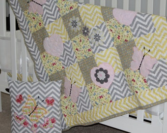 Baby Quilt, Gray and Yellow baby quilt, Gray chevron baby quilt, Floral baby quilt, Butterfly baby quilt, Baby girls quilt, Pink baby quilt