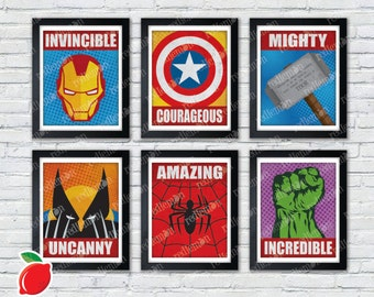 Marvel Comic Book Superhero Icons Print FULL SET