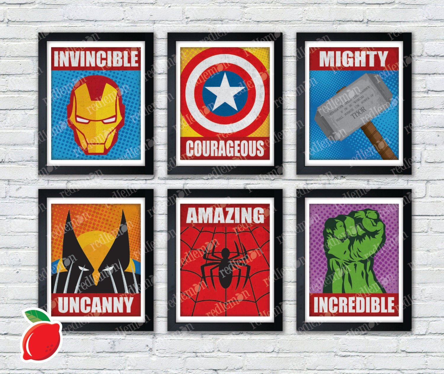 Marvel Comic Book Superhero Icons Print FULL SET