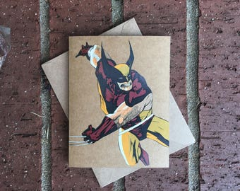 Vintage Marvel X-Men Wolverine Comic Book Greeting Card (Blank)