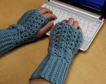 crochet fingerless glove wrist warmer gauntlet blue wristlets