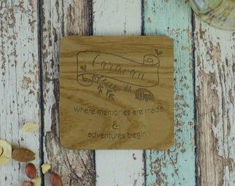 Caravan Memories Made Adventures Begin Personalised Engraved Coaster
