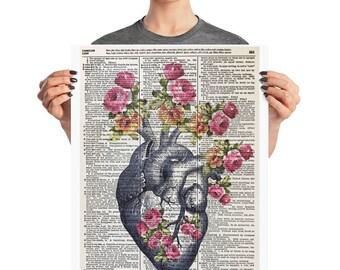 Anatomical Heart, 16x20,  Anatomical Heart, Heart of Flowers, Floral Heart, Human Heart, Floral Human Heart, Heart Human, Human Anatomy