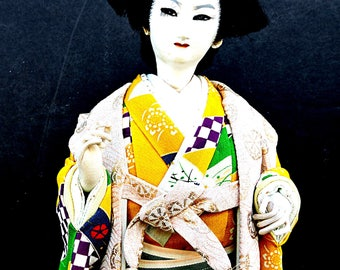Japanese Kabuki Dancer Doll Silk Kimono Japanese Theatrical Boho Urban Japan