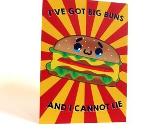A6 Kawaii Burger Postcard Print