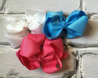 """Boutique Baby Girl Hair Bow Clip attached to alligator clip. Toddler bows girls bows 5"""" Double Layered Hairbows Hair Clips set of 3 bow"""