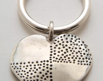 Silver Heart Dot Keyring made From Vintage American Half Dollar Coin