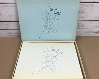 C.R. Gibson Vintage 1956 It's A Boy Memories Scrapbook Baby Album Illustrations By Helen Berry Moore Never Used