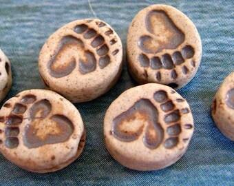 4 Tiny Ceramic Beads - Bear Paw Print - CB634