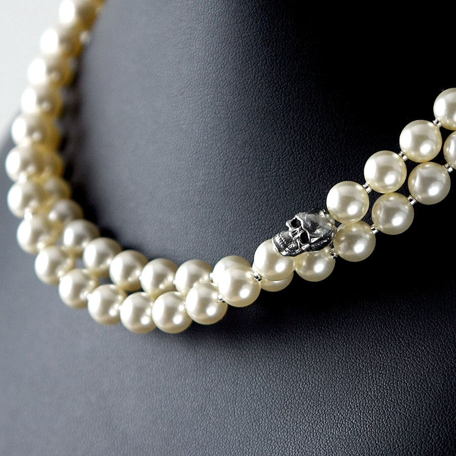 necklace listing with pearls swarovski pearl zoom skull strand fullxfull il double sgnt princess