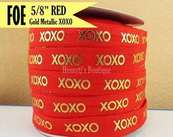 "Red & Metallic Gold Foil : XOXO Fold Over Elastic Printed. Valentine's foe - 5/8"" foe 2, 5, 10 Yards. DIY Headband Supplies"