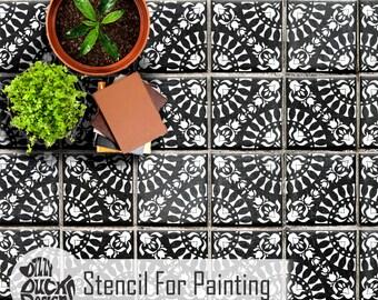 LAYA STENCIL - Mediterranean Moroccan Wall Floor Furniture Craft Tile Stencil for Painting - LAYA01