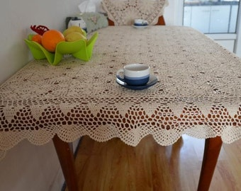 "Made to order ~ 39x63"" inches rectangular tablecloth, Handmade oblong table cover, country living style table topper for home decor"