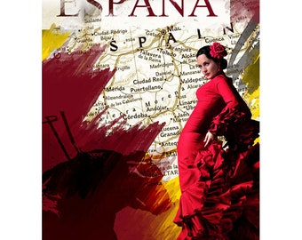 Colorful Wall Art, Digital Art, Printable Poster, Digital Download, Printable Photography, Printable Art,  Photographic Collage, España