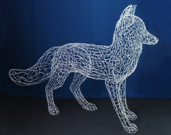 Life Size Fox Wire Sculpture