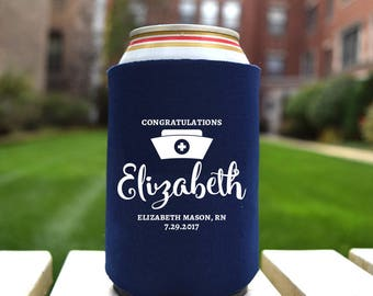 Nursing Graduation - Personalized Drink  Can Coolers! - Choose Your Own Colors -  Party Favors and Supplies -Beer and Drink Cooler