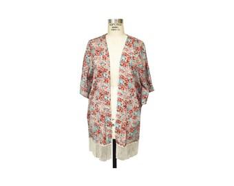 Seafoam Ditsy Floral Kimono with Fringe