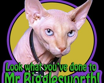 """90's Mike Myers Classic Austin Powers Mr. Bigglesworth """"Look What You've Done To..."""" custom tee Any Size Any Color"""