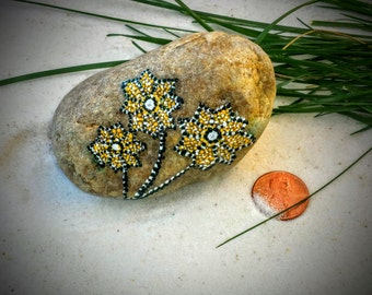 Hand Painted Stone with Flowers, Painted Rock, Mandala Inspired, Dot Painting, Home and Indoor Garden Decor Rock, Zen, Meditative Art
