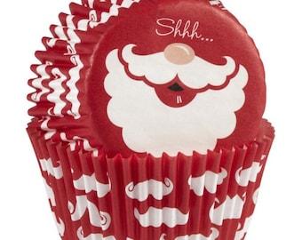Santa Wilton Standard Christmas Cupcake Liners Baking Cups Muffin Cups - Santa Cupcake Liners
