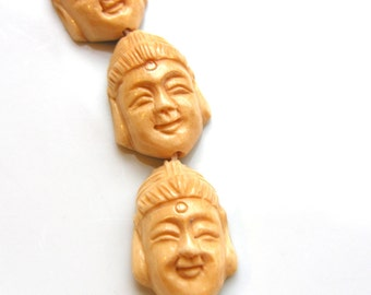 Carved Bone Buddha Face Pendant Bead One