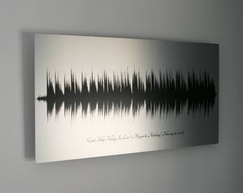 Tin Anniversary Gift, 10 Year Anniversary Gifts for Husband, Wedding Song Sound Wave Art, 10th Anniversary Aluminum, Gift for Men, for Women