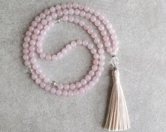 Rose Quartz Mala Beads with Quartz Crystal - 108 Prayer Beads - Meditation Necklace - Pink - Unconditional Love & Infinite Peace - Item #972