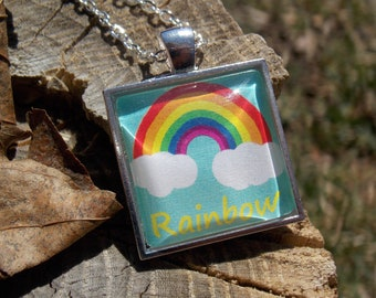 This side of the rainbow - hand illustrated pendant necklace