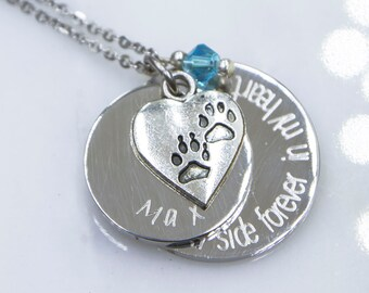 Dog Memorial Necklace, Pet Memorial Jewelry, always by my side Forever in my heart, Pet Loss Gift, Forever in My Heart, Dog Remembrance
