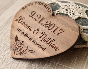 Save the date magnets, save the dates, wedding save the dates, wooden save the dates, heart wedding magnets, rustic save the dates, 25 pc