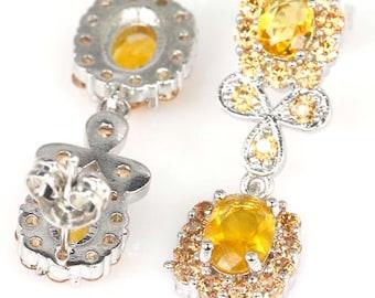 Sterling Silver Golden Citrine Gemstone Petite Drop Earrings