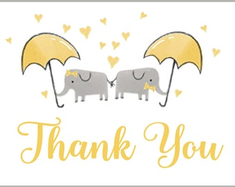 Baby Shower Thank You Cards, Twin Elephant Thank You