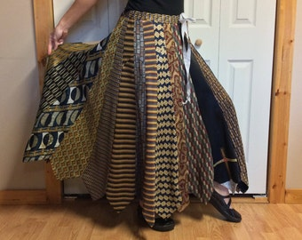 Autumn Gold NeckTie Skirt/Long Maxi Skirt/Silk Tie Skirt/Retro Boho Hippie Gypsy/Upcycled Recycled Repurposed/Womens One Size Sm-Med-Lrg