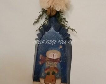 Snowman, Winter, hand painted, primitive, folk art, vintage coal shovel