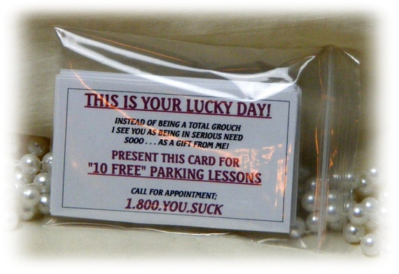 PARKING INSULT CARDS . . . Hysterical