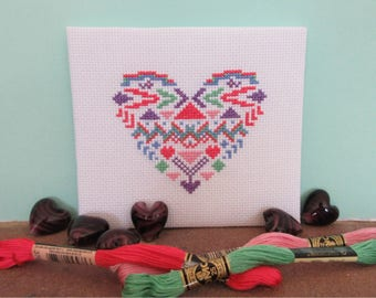 Geometric heart cross stitch pattern, modern tribal Aztec quick cross stitch, easy beginner's embroidery pattern, instant download PDF
