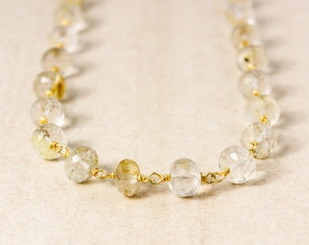 Golden Rutile Quartz  Beaded Necklace – Wire Wrapped Necklace