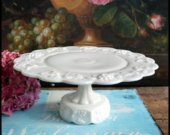 Vintage Milk Glass Cake Stand / Westmoreland Paneled Grape Cake Stand / Cake Server /Milk Glass Wedding