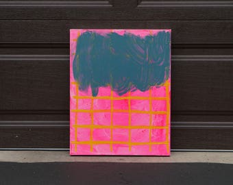 """Geometric Abstract Cloud Art, Blue Gray Hot Pink & Yellow Grid Original Acrylic Painting on Canvas, Colorful Modern Bright Wall Art 16""""x20"""""""