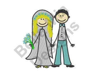 Bride & Groom - Machine Embroidery Design, Wedding