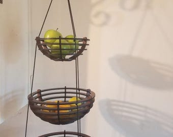 Custom Wooden Three Tiered Hanging Fruit Basket