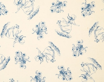 Little House on the Prairie Laura Ingalls Wilder Blue Girl and Bouquet Fabric Fat Quarter