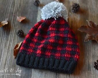 CROCHET PATTERN: Crochet Plaid Slouchy pdf  DOWNLOAD