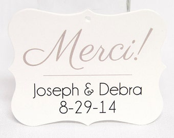 Merci Tags, Thank You Tags, Wedding Thank You Tags, Wedding Favor Tags  (EC-040)