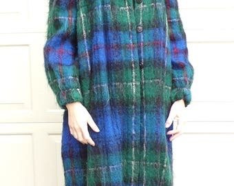 1980's ARTSY PLAID COAT mohair sweater duster geoffrey beene M (D5)