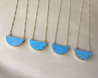 Blue Howlite Semi Circle Necklace